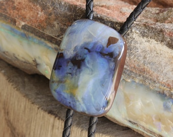 0cf801ce34b2 Super Cool Blue Boulder Opal Bolo Tie, Original Designer Style Natural  Gemstone Jewelry, Something Different, Large, Statement, One Only
