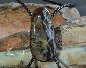 Distinctive Boulder Opal Bolo Tie | Elongated Free Shape | Blue Opal Face | Natural Australian Opal | Original | One Only | Statement Piece