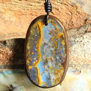 One Only Precious Natural Australian Opal Unisex Minimalist Jewelry Prestige Big Unique Free Shape Original Design Boulder Opal Necklace