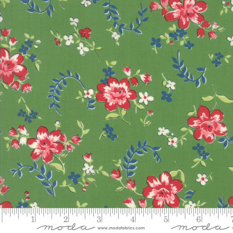 Moda SPRING A LING 21711 18 Green Floral AMERICAN JANE Quilt Fabric