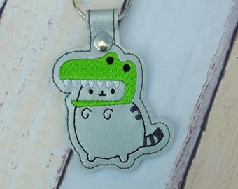 4x4 DIGITAL DOWNLOAD T Rex Plush Kitty Snap Tab Key chain ITH Embroidery Design