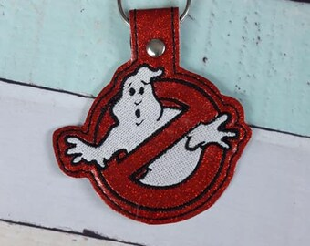 4x4 DIGITAL DOWNLOAD Ghostbusters Snap Tab Key chain ITH Embroidery Design
