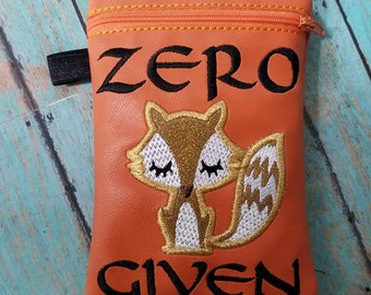 DIGITAL DOWNLOAD 5x7 Zero Fox Given Bag Embroidery Design Unlined and Lined ITH