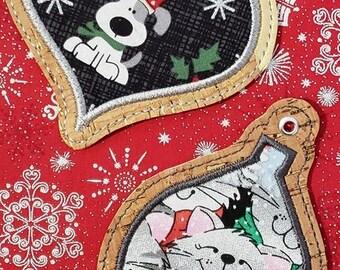 DIGITAL DOWNLOAD 4x4 2 Piece Applique Ornament Set Embroidery Design ITH