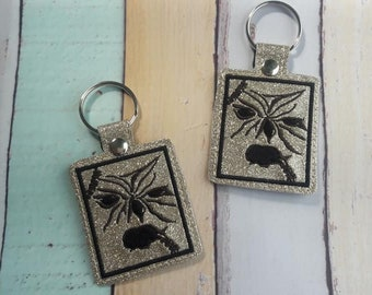4x4 DIGITAL DOWNLOAD Necronomicon Snap Tab Key chain ITH Embroidery Design