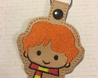 4x4 DIGITAL DOWNLOAD Red Magic Wizard Boy Tab Key Chain ITH  Embroidery Design