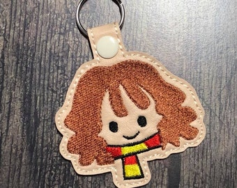 4x4 DIGITAL DOWNLOAD Magic Wizard Girl Snap Tab Key chain ITH Embroidery Design