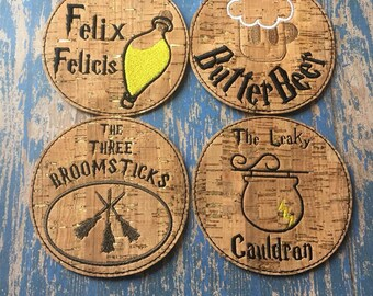 DIGITAL DOWNLOAD 4 Pack Magical Wizard Coaster Feltie Set 4x4 ITH Embroidery Design