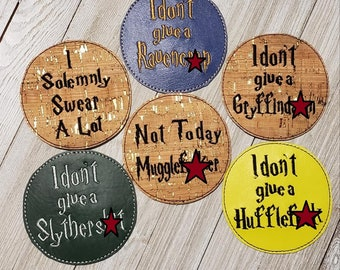 DIGITAL DOWNLOAD 6 Piece Sweary Potter Coaster Set ITH Embroidery Applique Design
