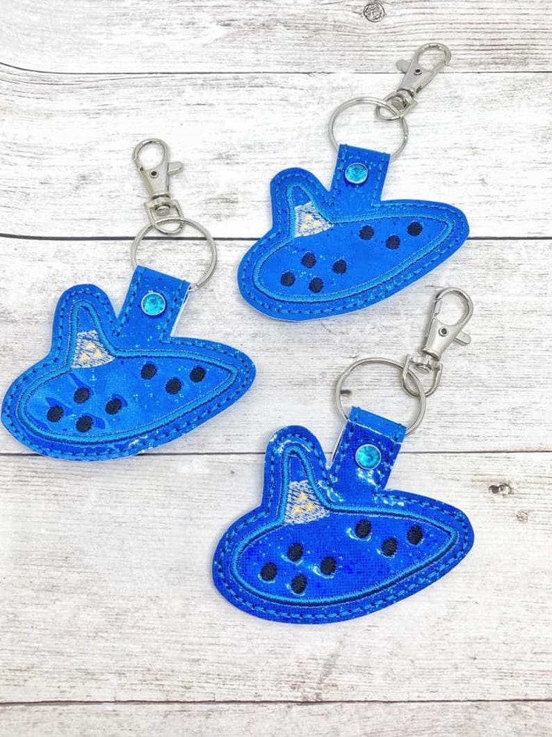4x4 DIGITAL DOWNLOAD Ocarina Snap Tab Key Chain ITH Embroidery Design
