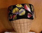 Vintage Doris Designed Black Fur Felt Hat with Velvet Fruit and Leaves Gold Hatpin Included Pillbox Style