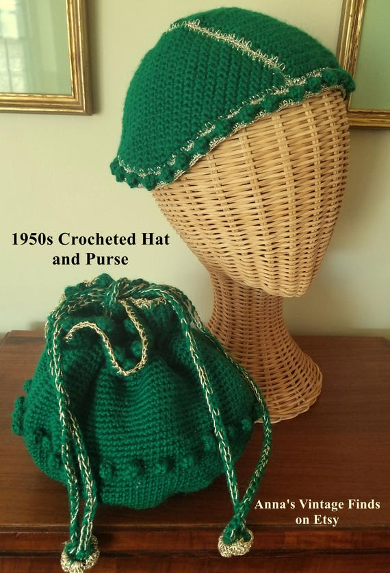 Vintage Crocheted Hat and Purse Matching Set Brigh