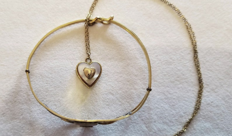 Child/'s Locket and Bracelet Kiddie Kraft Gold Filled Mother of Pearl Hearts with J Monogram