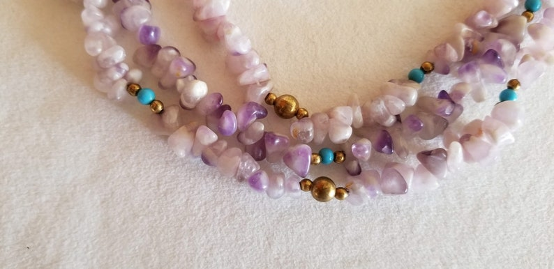 Vintage Matte Amethyst and White Quartz Dog Tooth Necklace1970s3-StrandTurquoise and Gold Ball Spacers