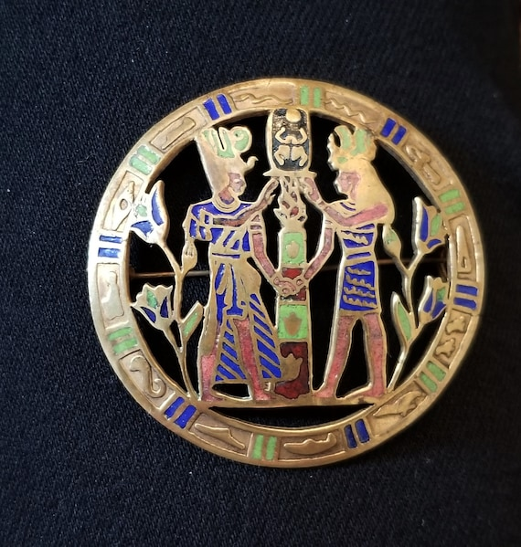 Vintage Egyptian Revival Pin Brooch Enameled Depic