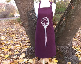 decorative linen apron with artichoke, illustration, nature, linin, kitchen decoration, gift for mother's day, present under 50 Euro