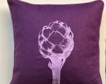 purple pillow with artichoke, screenprinded, pure linen, velvet