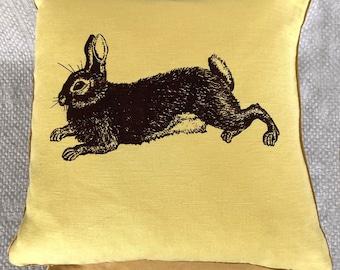 yellow Designer pillow, pure linen, illustration, screenprinted, ecological colours, rabit