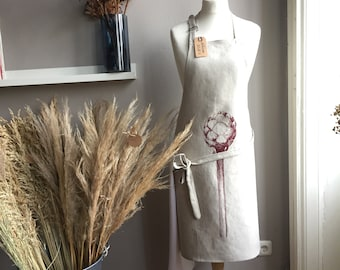 Apron, pure linen, Illustration with artichoke, gift for vegetarian