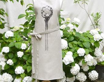 100% pure linen apron with screenprinted artichoke in dark purple, gift for her under 50 Euro
