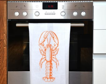 Gift for him 20 Euro, present for the house-warming party, tea towel, hand printed with screen print, pure linen, lobster
