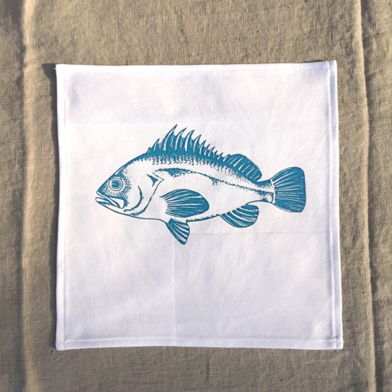 35 cm x 35 cm table linen decorative fabric napkins white cotton with hand-printed fish illustration four