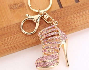 Shoe Keyring High Heel Keychain Crystal Gift For Ladies present with Bag UK