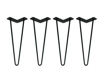BLACK POWDER COATED Hairpin Legs Set of 4, Hairpin Legs Black, Hairpin Table Legs, Mid Century Modern, Coffee Table, Furniture, Metal Legs
