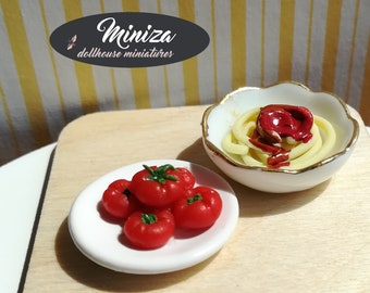 Miniature pasta with tomatoes, 1:12 scale
