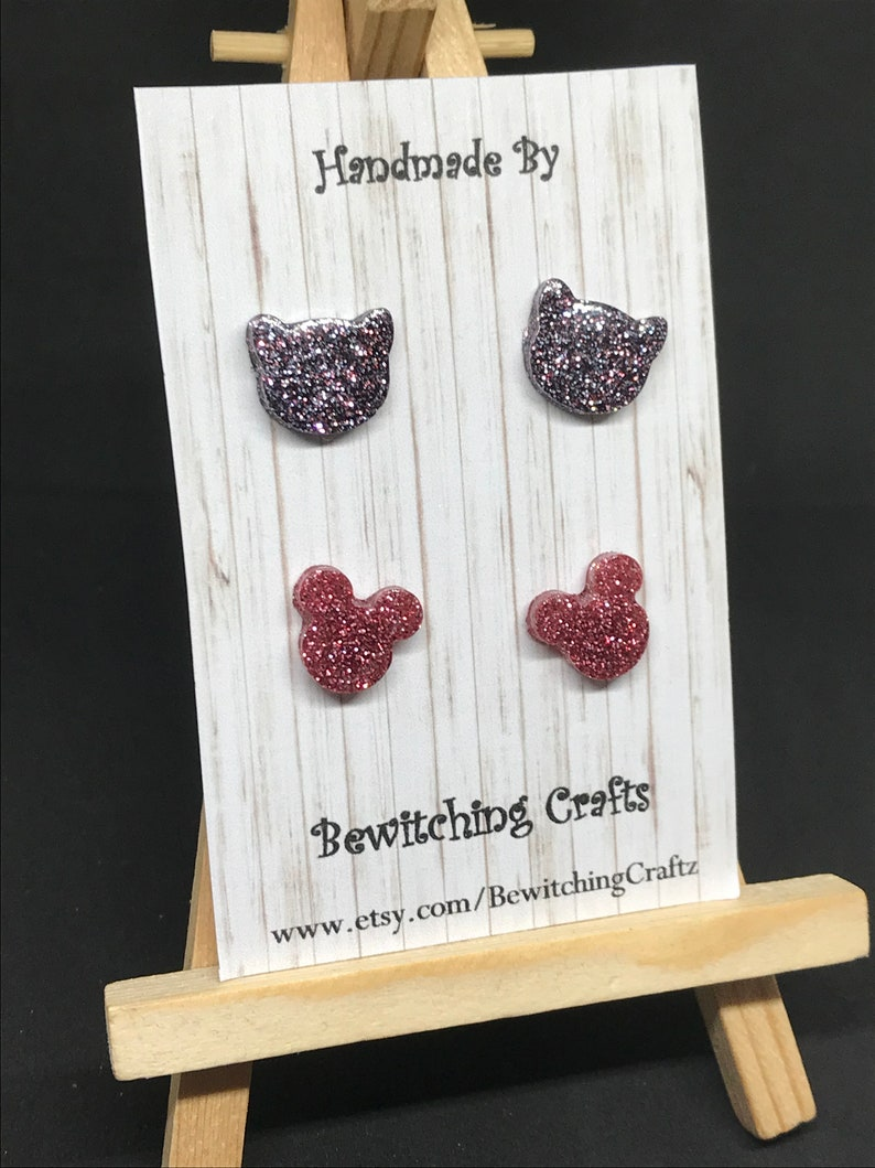 Mickey Mouse /& Cat Pack Rose Gold  Charcoal Glitter Earrings Resin Stainless Steel Post Stud Quirky Retro Eighties Teen Gift Boho cat lady