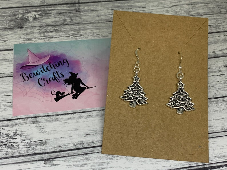 Christmas Tree Silver Plated Earrings Gift Stocking Filler Birthday Gift Christmas Secret Santa Quirky Fun Christmas Party