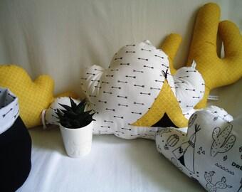 Coussins tipi et cactus enfant décoration chambre bébé thème
