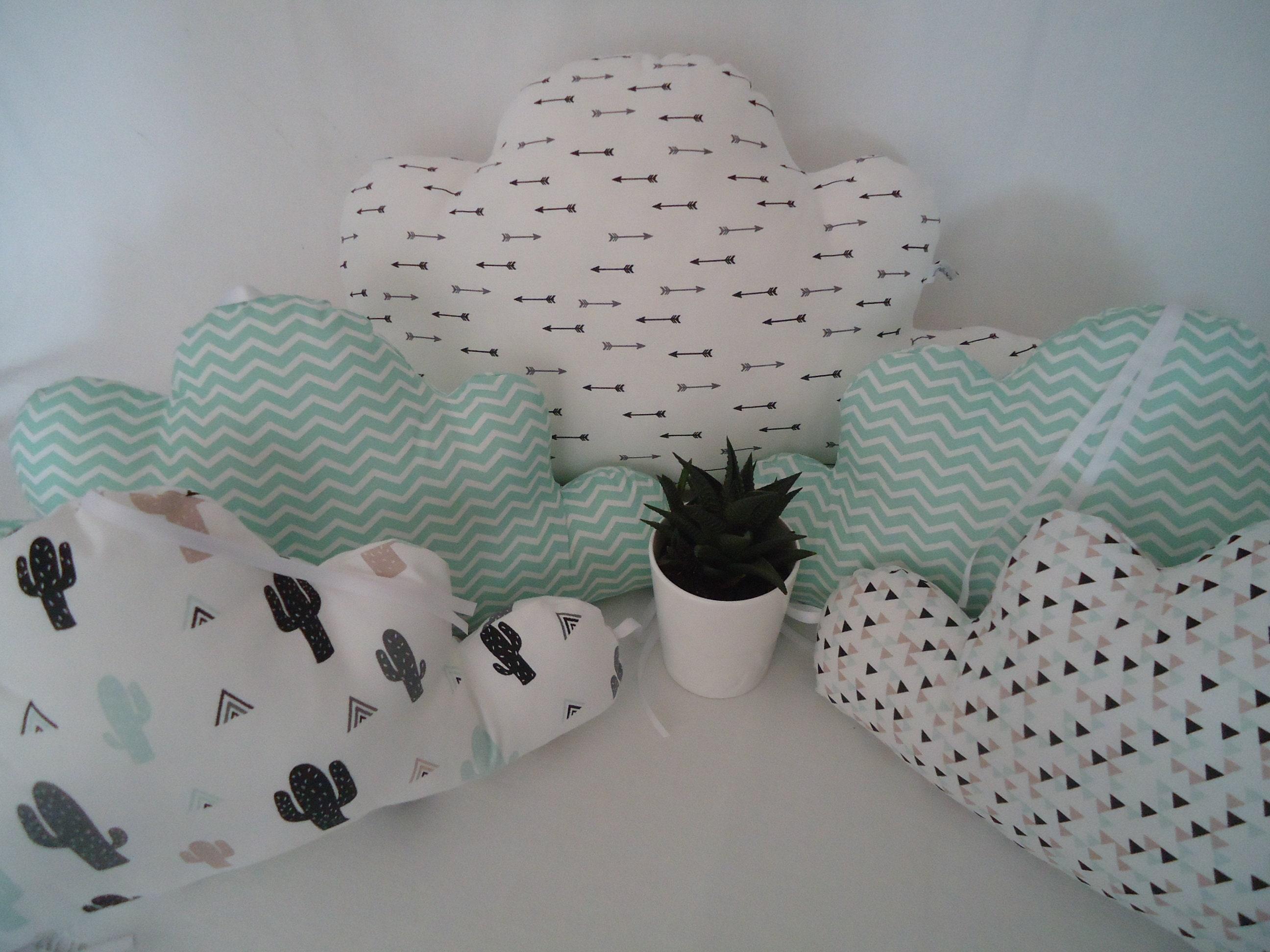 Tour de lit nuages bébé 5 coussins motifs cactus flèches et | Etsy