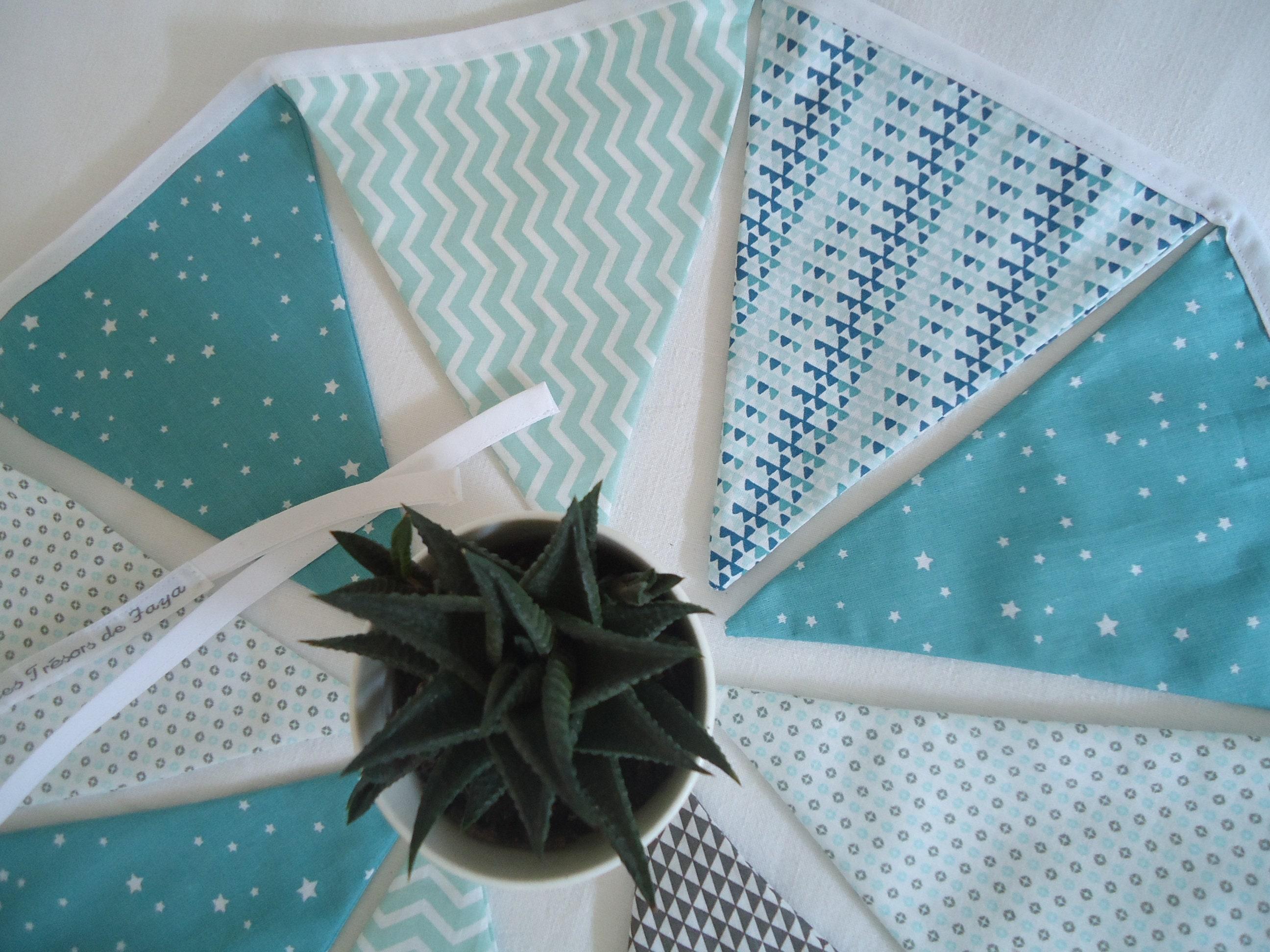 Fanion Chambre Bébé Garcon guirlande fanions bébé garçon, banderole enfant bleu canard, vert d'eau,  mint et gris, décoration chambre enfant, cadeau naissance