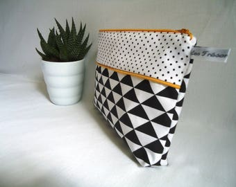 Scandinavian toiletries, diapers, baby, triangles and mini black and white polka dots, mustard yellow piping, birth gift
