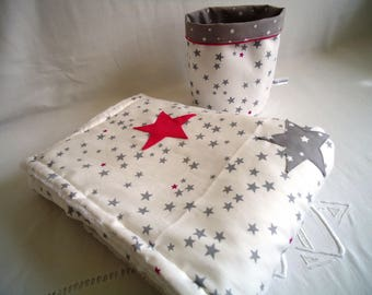 Soft baby blanket warm and cosy blanket, grey and pink big stars applied