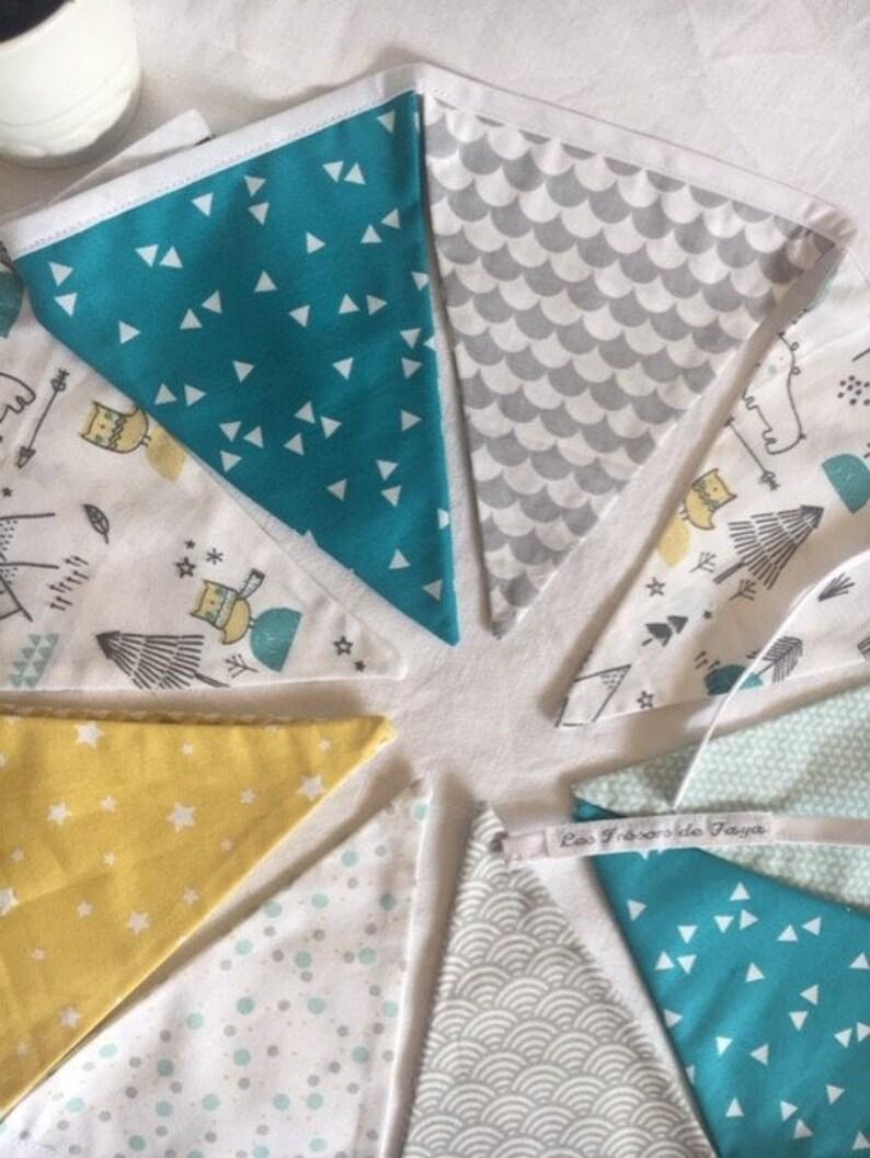 Guirlande fanions enfant, déco chambre bébé, vert eau, jaune moutarde et  gris, décoration - idée cadeau naissance, anniversaire
