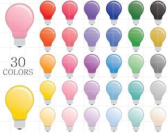 Lightbulb Clipart, Light Bulb Clipart, Bulb Clip Art, Digital Lightbulbs, Colorful Lightbulb Clipart, Rainbow Lightbulbs, Lightbulb Clip Art