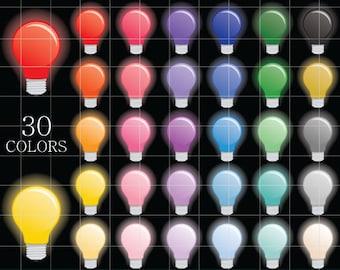 Glowing Lightbulb Clipart, Light Bulb Clipart, Bulb Clip Art, Digital Lightbulbs, Colorful Lightbulb Clipart, Rainbow Lightbulbs