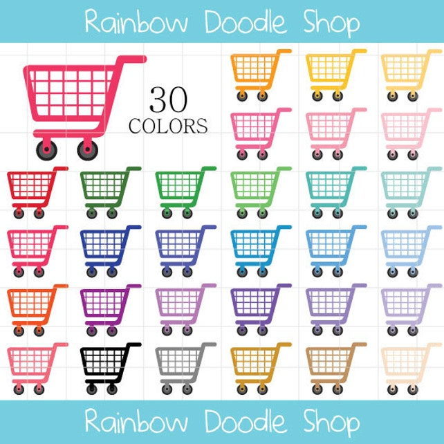 Einkaufen Warenkorb Clipart Einkaufswagen ClipArt Einkaufen | Etsy