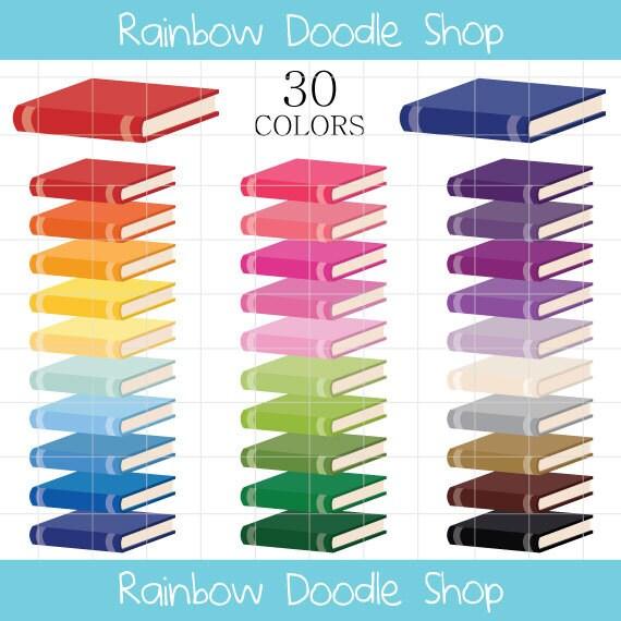 Books Clipart Colorful Books Clip Art Rainbow Books Clipart | Etsy