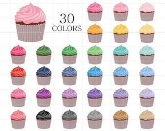 Cupcake Clipart, Cupcakes Clip Art, Colorful Cupcakes, Digital Cupcakes, Cupcakes Download, Cup Cake Clipart, Rainbow Cupcakes