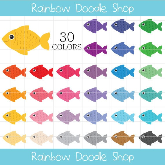 Fisch Clipart bunten Fischen ClipArt Angeln Cliparts | Etsy