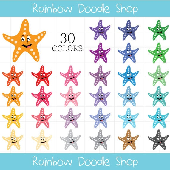 Starfish Clipart Star Fish Clip Art Fish Clipart Colorful Etsy
