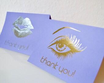 Set of 10 Thank You Foil Metallic Cards A6