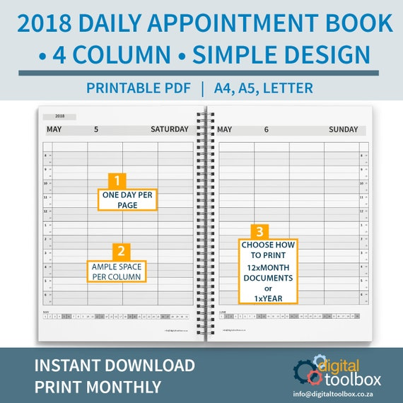 2018 4 column salon diary daily appointment book printable etsy