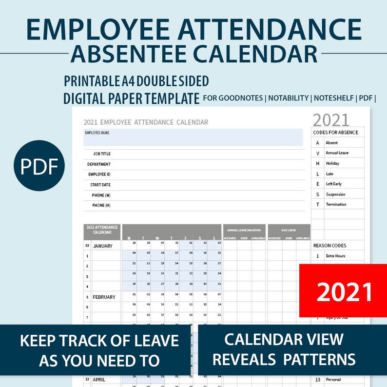 2021 A4 Printable Employee Attendance Absentee | Etsy