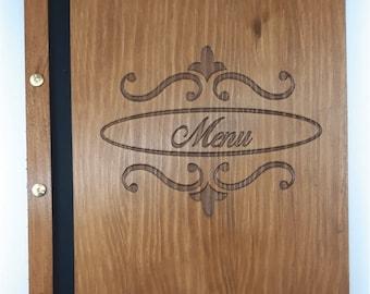 "wood menu A4 ""old timer""customizable"