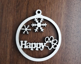 Dog Personalized Wood Christmas Decoration, Christmas Ornament Bauble Tree 8cm/3.14in