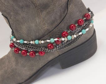 Boot Bracelet/ Boot Chain Country Girl Turquoise~Red~Swarovski Crystal Boot Bling